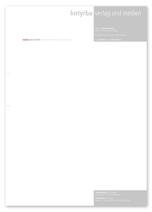 Briefpapier, Kotyrba Verlag und Medien