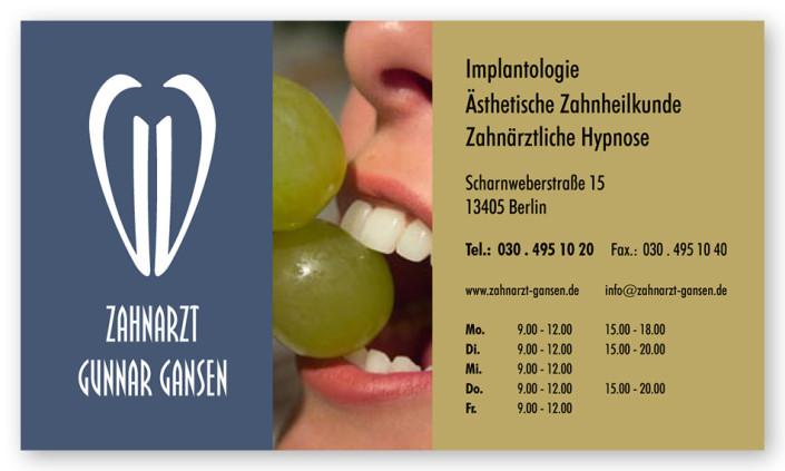 Visitenkarte: Zahnarztpraxis Gansen, Berlin