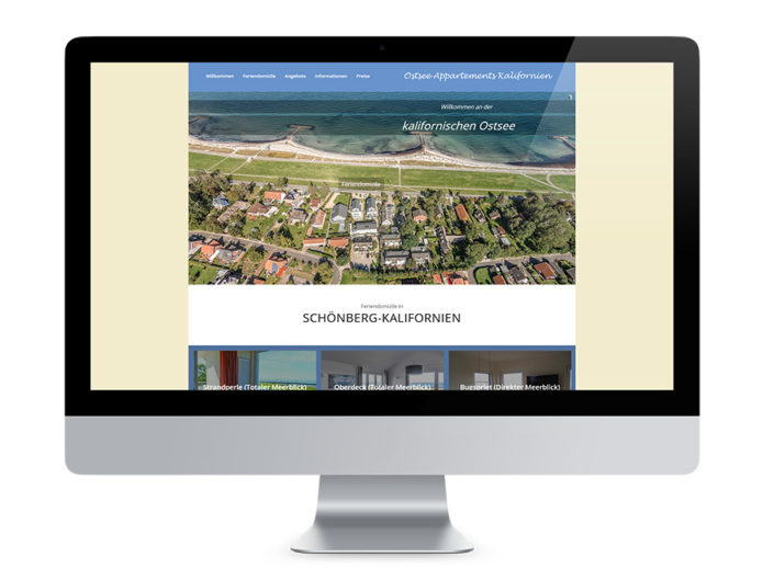 Webdesign Kiel, Ostsee Appartements Kalifornien