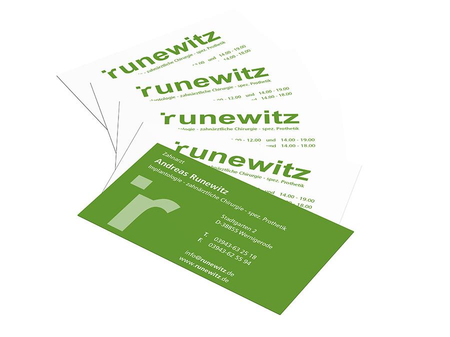 Zahnarztpraxis Runewitz Wernigerode, Visitenkarten