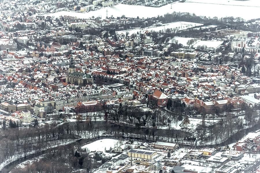 Luftbild Wolfenbüttel | Stadtgraben im Winter