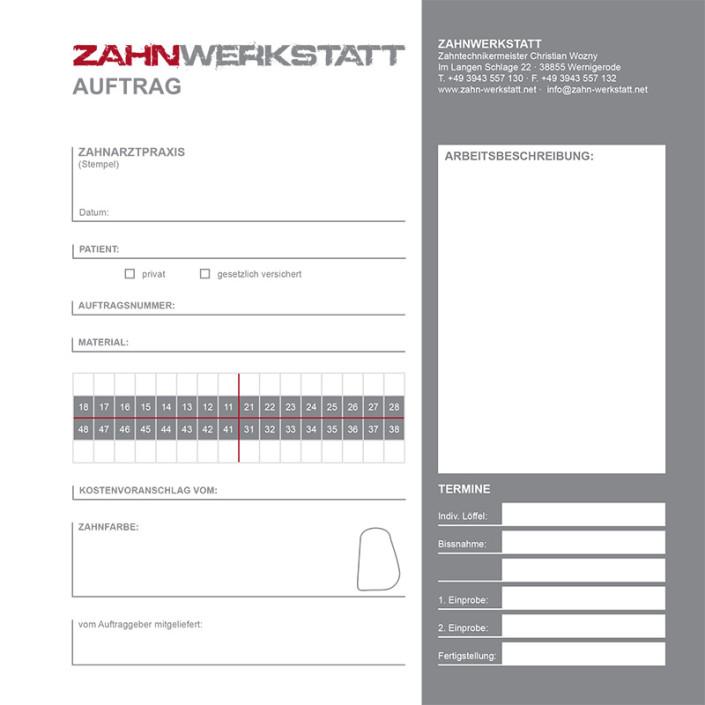 Auftragsformular: Zahnwerkstatt, Wernigerode
