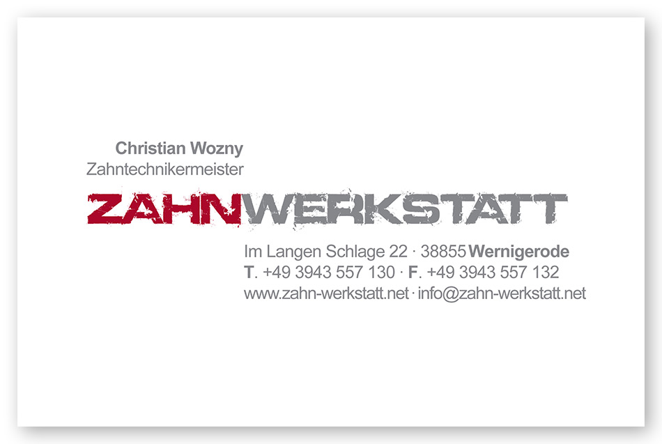 Visitenkarte: Zahnwerkstatt, Wernigerode