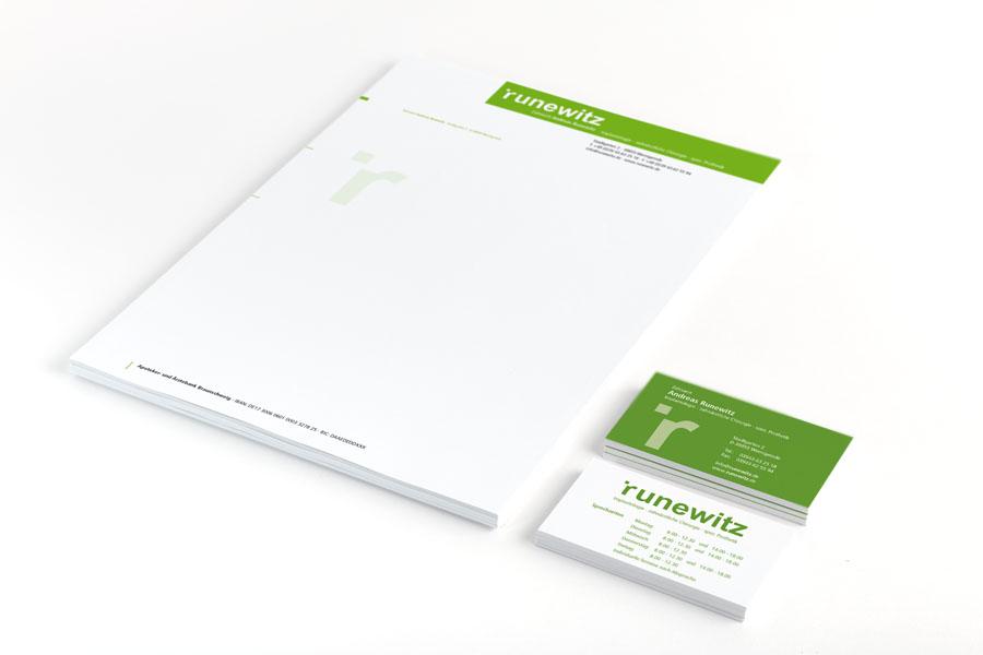 Briefpapier und Visitenkarten Zahnarzt Runewitz | kotyrba cross media development braunschweig